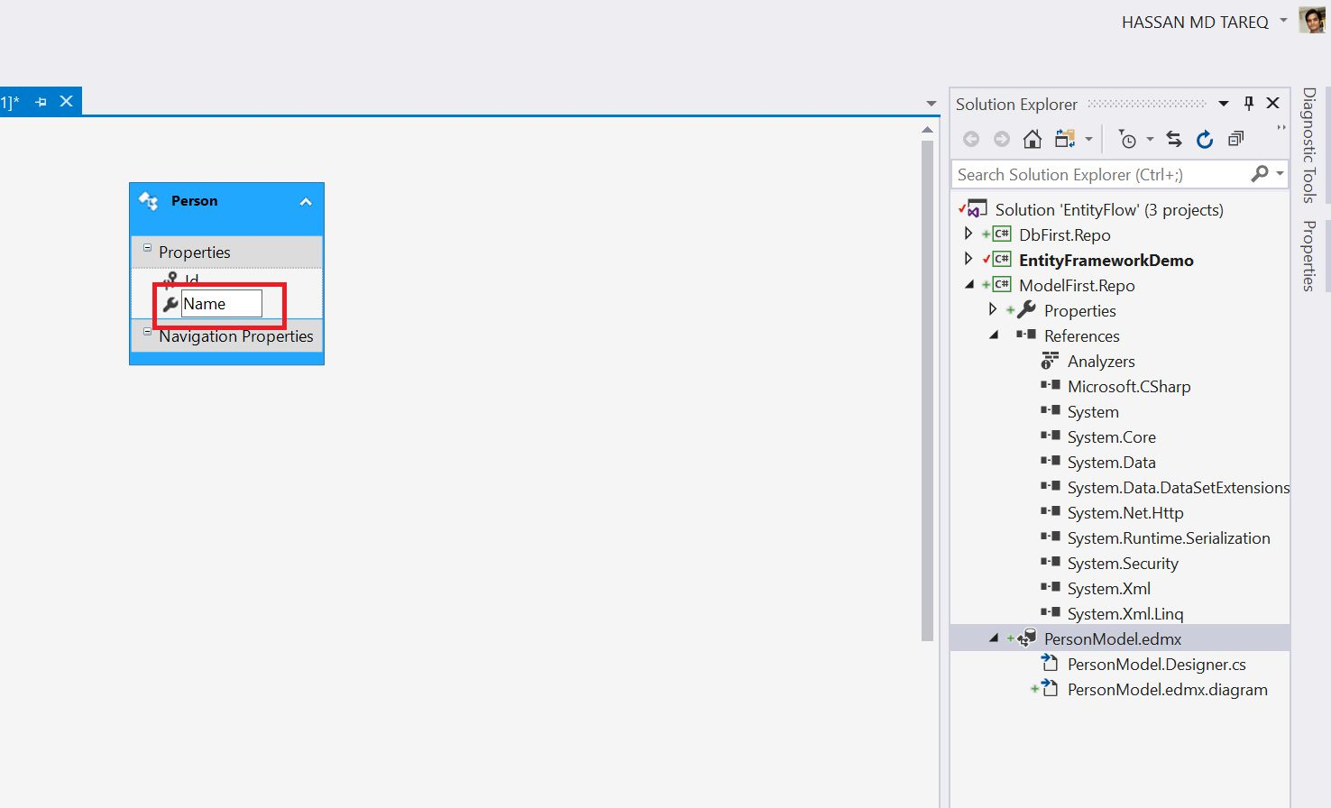 Entity Framework Model Fisrt Approach - Creating edmx Step 11